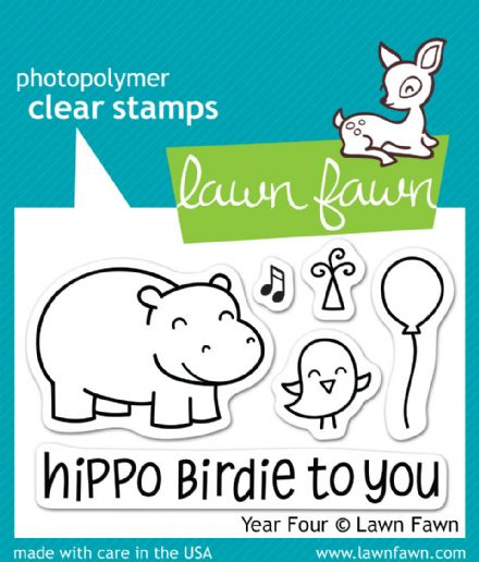 LF0655 S  ~  YEAR FOUR - HIPPO  ~  CLEAR STAMPS BY LAWN FAWN